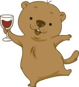 Dancing groundhog holding a glass of red wine.